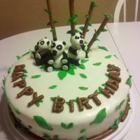 Panda Birthday   Carrot cake with cream cheese filling. The pandas , bamboo and leaves are all MMF