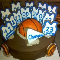 Basketball Team  Made for my daughter's team. Chocolate cake, chocolate whipped cream filling and whipped Chocolate ganache frosting. The basketball is...