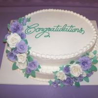 Bridal Shower Cake Oval Tiers with Gumpaste Roses, Done for my niece's Bridal Shower.