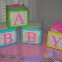 B-A-B-Y Blocks   Baby blocks shower cake
