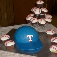 Texas Rangers Ball Cap Baseball Cap is choc Gluten Free frosted w/ choc buttercream and covered in MMF. Bill of cap is fondant covered cake board slightly bent to...