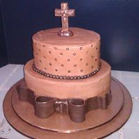 Memorial Service Chocolate, chocolate, chocolate! Triple fudge cake, chocolate filling and BC, chocolate fondant bow and beads, and chocolate cross. Used a...