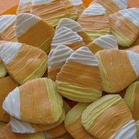 Candy Corn Cookies Candy corn cookies for my granddaughter's 1st birthday party. NFSC covered with chocolate. (Yummy!)