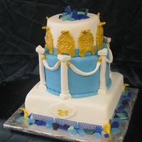 Greek Themed Birthday Cake   fondant pillarts, the greek Key was edible image paper tfl