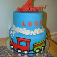 Lukes Choo Choo The little boy who LOVES trains.. Wanted nothing but a train cake.. So that's what he got-- This was done with a old hand mixer...