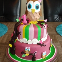 "First Birthday Owl Cake Made this for my daugher's 1st Birthday Party. 8"" and 6"" Cakes covered in Fondant. Gumpaste owls and leaves on chocolate..."