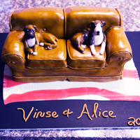 Couch Potato Dogs Carved from 3 9 x 13s, covered in fondant with fondant/GP dogs. Thanks to everyone on here for the inspiration! TFL!