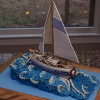 Sailboat Cake Completely edible aside from the dowels used to make the sails and rails (sails are gumpaste) - another cake made with my talented padawan...