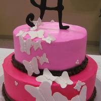 Butterfly Pink Baby Shower Cake 2 tier white cake, fondant butterfly, buttercreme icing