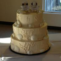 40Th Wedding Anniversary White cake, buttercreme icing, white chocolate sea shells.