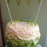 Ombre Cake   *Wedding shower cake in ombre fondant ruffles.