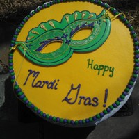 Mardi Gras Mask Cake   Vanilla mud cake with vanilla bc, gp mask.
