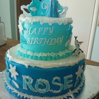 Frozen Birthday Cake Top tier vanilla WASC, bottom tier chocolate WASC, vanilla bc. gp accents, purchased figures.