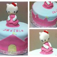 "Hello Kitty Princess 8"" fondant covered cake. castle decor on side is also fondant. Hello kitty on the top is 50/50 gumpaste fondant. hello kitty dress is..."