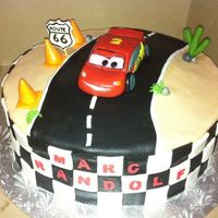 Cars Cake fondant covered cake with gumpaste decor.