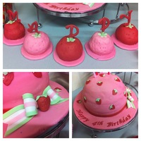 Strawberry Shortcake Hat Cake strawberry shortcake hat cake is covered in fondant and gumpaste bow and fondant strawberry decorations. Mini strawberry cakes are semi...