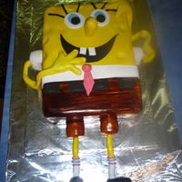 Spongebob 9x13 sheet, covered in Fondant, Fondant arms, feet and Details.