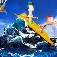 Phineas And Ferb Birthday Cake- Surfs Up This is a Phinease and Ferb cake for my son's 7th birthday. I used toys for the characters(i don't usually do that), but he...