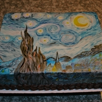 Van Gogh Starry Night Marshmallow fondant painted with Wilton gel colors and rum.
