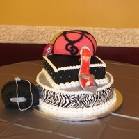 Fashionista Sweet 16 cake, buttercream and fondant, gum paste shoe, handbags are rice krispies treats