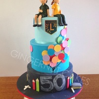 Primary School 50Th Birthday Rich dark chocolate cake covered in ganache then fondant. Figurines made from white modelling chocolate. All other decorations made from...