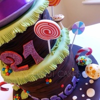 Willy Wonka Bottom layer is white chocolate rainbow cake. Middle is rich dark choc. Hat is white chocolate mud cake. Design is based on a cake by...