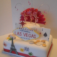 Vegas Surprise Gumpaste cut-outs. Surprise cake for a Vegas vacation