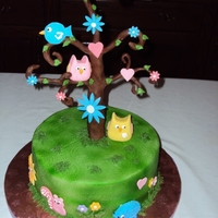 Owls In A Tree Cake was made for a baby shower. Owls made of fondant. Tree made with chocolate clay.