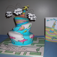 Oh, The Places You'll Go Baby Shower Cake inspired by Dr. Seuss's classic book! Topsy Turvy cake with handpainted elements from the book, sculpted funnel on...