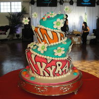 Topsy Turvy Bat Mitzvah Four tier topsy turvy Bat Mitzvah cake with fondant detailing. Inside is vanilla cake with chocolate buttercream! It was a hit and all the...