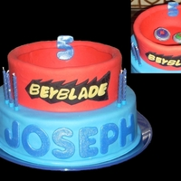 Beyblade 1-recipe strawberry cake with strawberry buttercream covered with fondant. the beyblade stadium is completely made of fondant only, no cake...