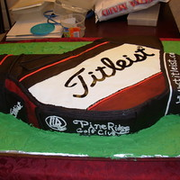 Pro Golf Bag For Cantour This is made of cake, hand carved, and covered in buttercream, then fondant. All detail work with fondant and royal icing.