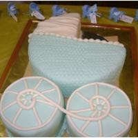 Baby Carriage   fondant covered - basketweave rolling pin
