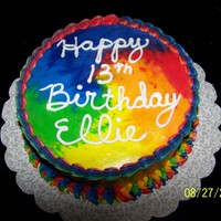 Tye Dye Birthday Cake Strawberry cake with buttercream icing