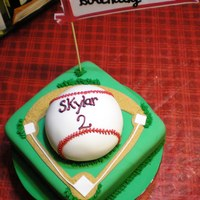 Baseball Cake vanilla cake covered in bc