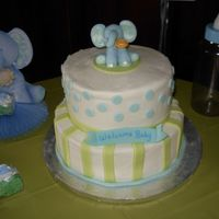 Baby Shower Cake Buttercream with fondant accents. Elephant in gum paste madeby milliegonza.