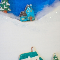 Winter Country Scene Made Of Cookies