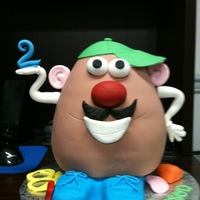 Mr. Potato Head White Cake covered in fondant, gumpaste accents