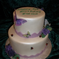 Ladybugs And Butterflies This sweet little girl wanted 5 ladybugs on the bottom cake and 5 butterflies on the top cake. I ordered the butterflies online, they are...
