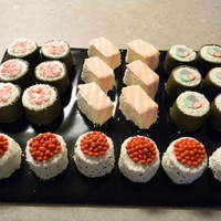 Sushi Cakes Sushi mini cakes. They were a huge hit at a Japanese restaurant.