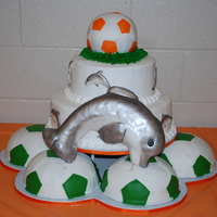 Mosley Soccer Banquet 2011  This cake was a joint effort with my 15 year old granddaughter for her high school soccer team banquet. Soccer balls were covered in...