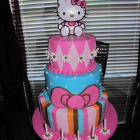 Hello Kitty Birthday cake for my daughter's fifth birthday; BC with MMF NO CLUE why my pic is sideways! (It wasn't when I uploaded it...)