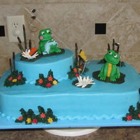 Frog Baby Shower BC with fondant frogs, flowers, flies and butterflies