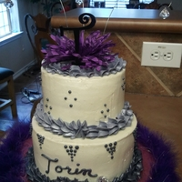 Purple Bling Cake White Cake with Vanilla Butter Cream with Purple Accents