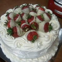 Strawberry Cake Strawberry Cake with Cream Cheese Icing and White Chocolate Dipped Strawberries on Top