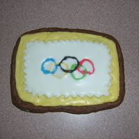 Olympic Cookies - 6  Olympic rings cookies. These didn't turn out the way I had it pictured in my head. I also made a different style with the rings but it...