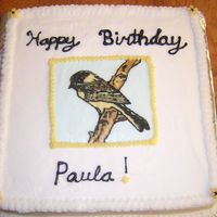 Yellow Chickadee Cake Bird is an fbct, bc on a yellow cake. Made for a woman in my church for her birthday. TFL!