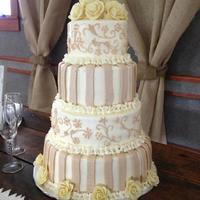 Cream And Champagne Wedding Cake My son and daughter-in-law got married in Alaska. Got to travel to Alaska to do their cake! The theme was vintage rustic. She wanted cream...