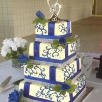 Royal Blue Wedding Cake This is only my 3rd large wedding cake. Did this for a friend in all Butter Pecan. She loved it!