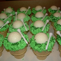 Golf Ice Cream Cone Cupcakes The golf balls are white chocolate